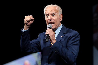 A Picture of Joe Biden Shaking his fist.